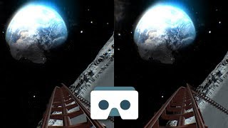 Virtual Reality Roller Coaster on the Moon: 3D Video for Oculus Go, VR Box headset, Samsung Gear VR