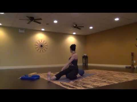 Gentle Yoga Stretching using a Bolster with Becca Part 1/2