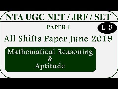 NTA UGC NET June 2019 Paper 1 (Solved) || Mathematical Reasoning & Aptitude Lecture 3