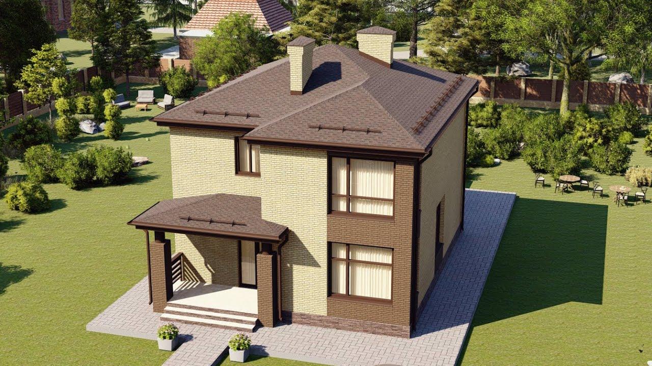 Проект семейного дома с тремя спальнями . Площадь дома 134 м2.