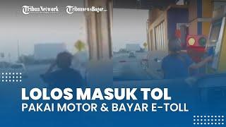 Viral Video Emak-emak Pakai Motor Nekat Masuk Tol Dalam Kota, Bayar Pakai E-Toll dan Lolos