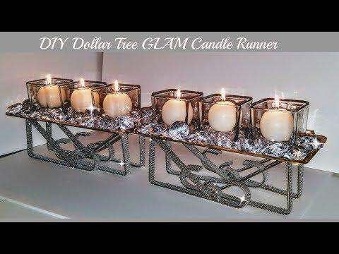 DIY Dollar Tree GLAM Candle Runner - Easy Diy - DIY Centerpiece