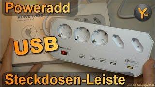 Poweradd 5-fach Steckdosen-Leiste mit 4x USB + QuickCharge 3.0