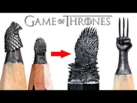 AMAZING Art on Pencil , Pencil Carving, Carving Game Of Thrones Throne On A Pencils Tip!