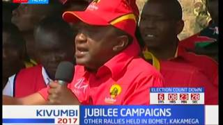 Some of the things Uhuru Kenyatta while addressing crowds during his campaign in Uasin Gishu county