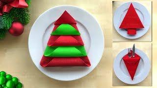 Servietten falten Weihnachten 🎄 Weihnachtsdeko selber machen - Basteln mit Papier-Servietten