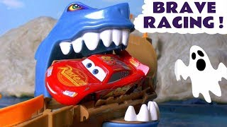 Disney Cars Toys McQueen Shark Attack Brave Racing with Hot Wheels Superhero Cars TT4U