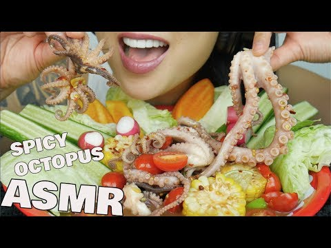 ASMR SPICY THAI OCTOPUS SALAD (EXTREME CHEWY CRUNCHY EATING SOUNDS) | SAS-ASMR