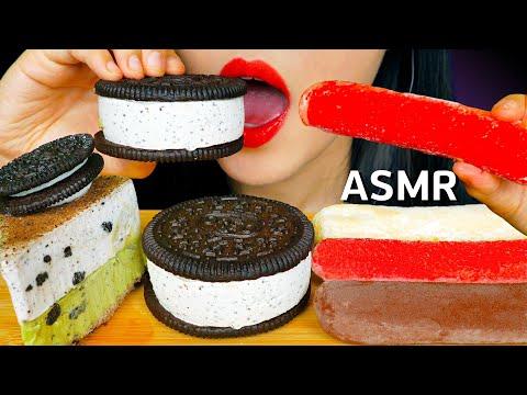 ASMR OREO ICE CREAM RICE CAKES 오레오, 찹쌀떡 아이스크림 먹방 NO TALKING EATING SOUNDS MUKBANG