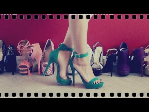 HD Review of JustFab's Bellagio in Green -Open Toe High Heel