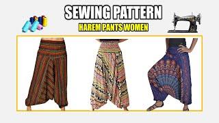 SEWING PATTERN HAREM PANTS WOMEN ~ PATTERN MAKING TUTORIAL