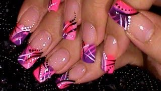 Trendy Pink & Purple Nail Art Design Tutorial