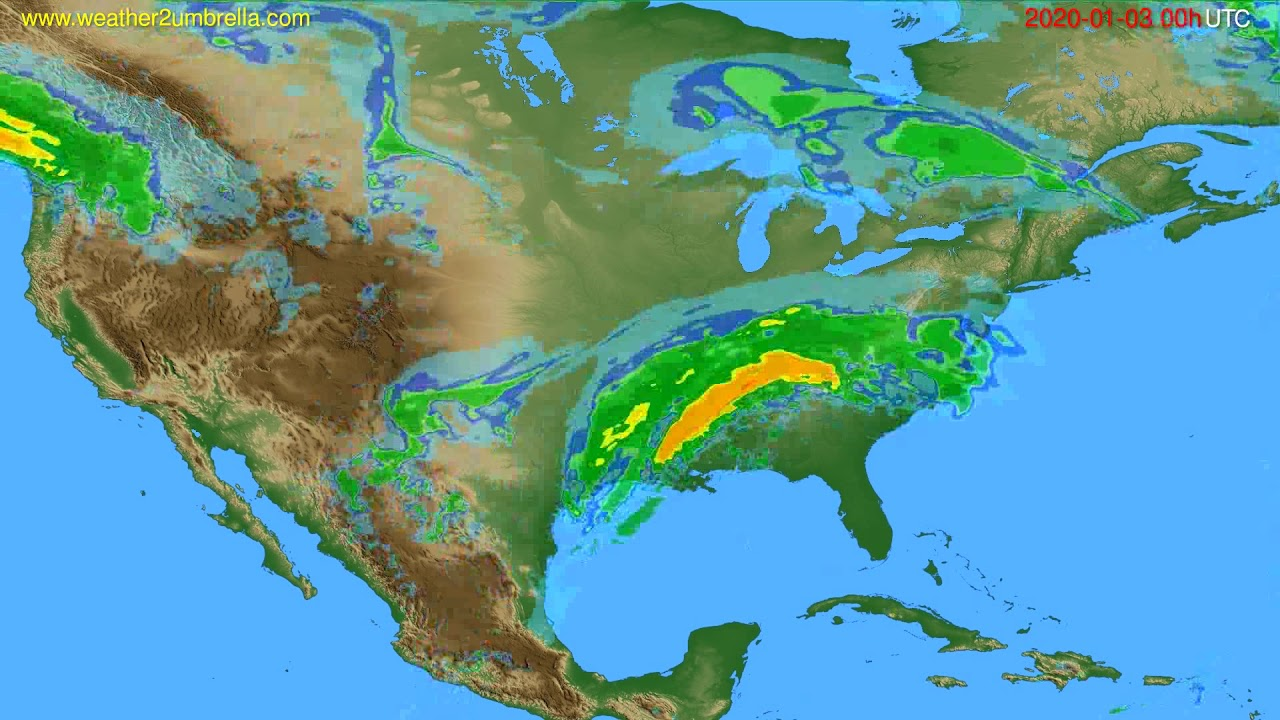 Radar forecast USA & Canada // modelrun: 12h UTC 2020-01-02
