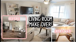DECORATE WITH ME - LIVING ROOM & ENTRY WAY MAKEOVER ON A BUDGET!