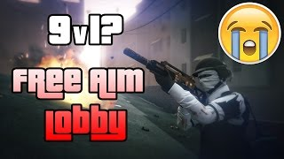 GTA 5 ONLINE - Fighting 9v1? (Free Aim Lobby)