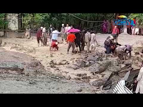 Flash-floods hit Kullan village in central Kashmir's Ganderbal, block Srinagar-Leh Highway