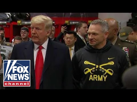 Trump speaks to the Army locker room ahead of Army-Navy game