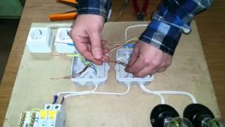 Монтаж распределительной коробки (распаечной коробки). Подключение двухклавишного выключателя.
