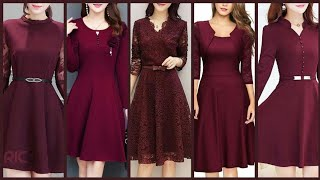 Latest Classic Midi Dresses Collection Mostly In Burgundy Color