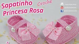 Sapatinho De Crochê Princesa Rosa - Passo A Passo - #ProfessoraSimone #crochet