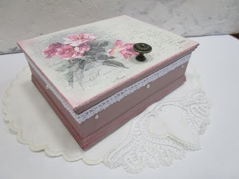 Decoupage tutorial for beginners - DIY.  How to decoupage a box. Serviettentechnik.