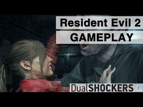 Gameplay avec Claire Redfield et des lickers de Resident Evil 2