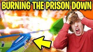 Jailbreak BURNING THE PRISON DOWN!!! (Prison On Fire Firetruck Update) | Roblox Jailbreak New Update