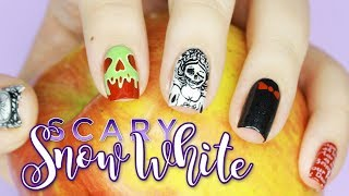 Skeleton Snow White And The Scary Adventures | Halloween Nail Art