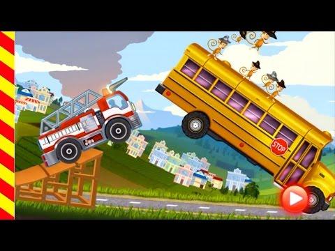 Мультики про пожарные машинки.  Вредные обезьянки угнали школьный автобус - мультик игра для детей