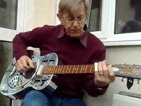 Walking Blues on acoustic Dobro in open 'D'