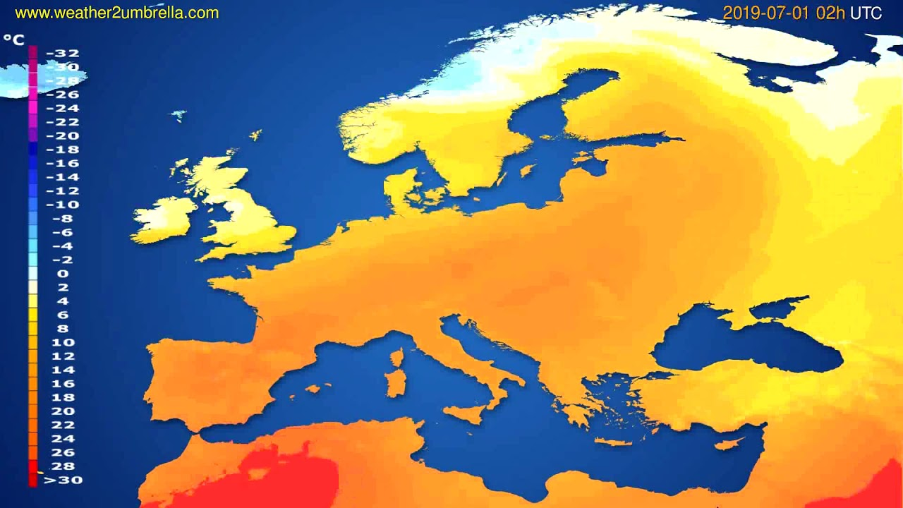 Temperature forecast Europe // modelrun: 00h UTC 2019-06-28