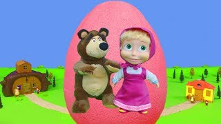 Masha and the Bear Unboxing: Giant Surprise Egg with Dolls House, Trains & Toy Vehicles for Kids