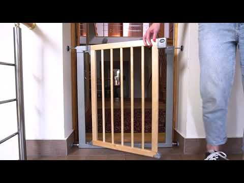 Munchkin ворота безопасности дерево Easy Close Deco 75-82 см