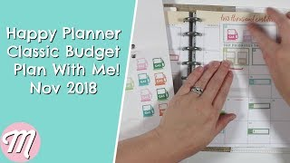 Happy Planner Classic Budget Plan With Me! Nov 2018