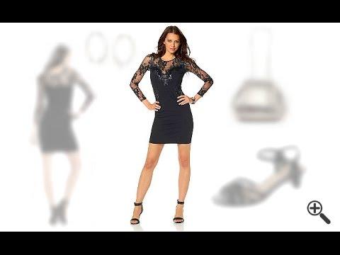 Melanie suchte sexy Partykleider mit Ärmel und wir stellen ihr dieses schwarze Party Outfit zusammen