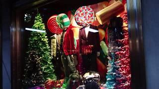 Bergdorf Goodman 2018 Christmas Holiday Windows New York City NYC  - Unedited Real Sounds