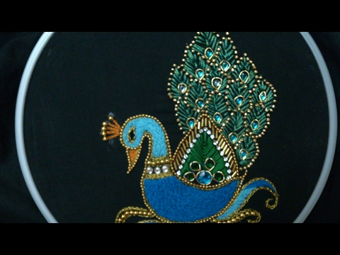 Hand Embroidery Designs Aari Style Peacock Embroidery For Ghagras