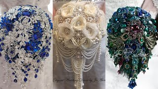 Glamorous And Gorgeous Bridal Brooch Bouquets Pearl And Stone With Silk Flowers Bridal Bouquets
