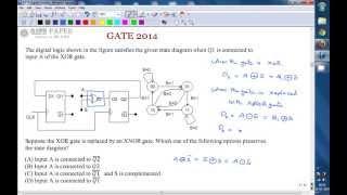 GATE 2014 ECE Sequential circuits, State diagram