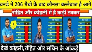 देखे वनडे में 206 मैच खेलने के बाद कौनसा खिलाड़ी है आगे,रोहित और कोहली में है कड़ी टक्कर