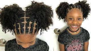KIDS NATURAL HAIRSTYLES: Rubber Band Protective Style On Natural Hair