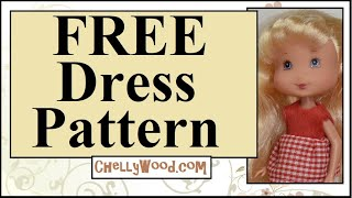 Free Doll Clothes Patterns: Miniature Dress For Tiny Dolls (Strawberry Shortcake, Chelsea, & More)