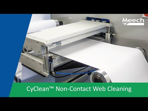 Video of application of CyClean non-contact web cleaner with static control.