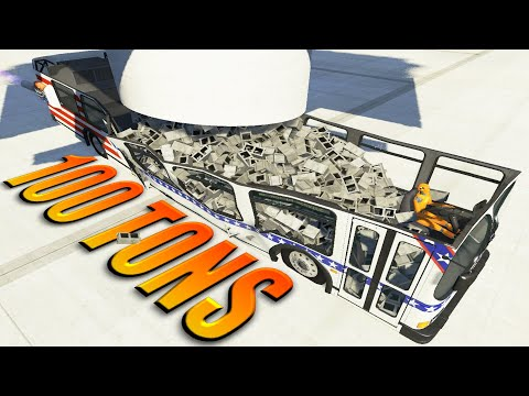 I put 100 tons of bricks on the bus - BeamNG DRIVE crashes