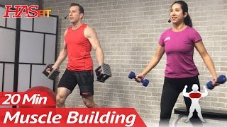 20 Min Muscle Building Dumbbell Chest Workout at Home for Women & Men Bodybuilding Workouts Routine by HASfit