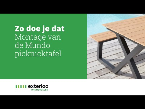 Mundo picknicktafel wit-naturel - aluminium met tafelblad in polywood - L 200  x B 173 cm