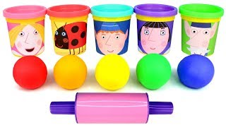 Ben and Holly Play Doh Cans & Molds Learn Colors with Ben Elf Princess Holly Nanny Plum Gaston