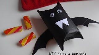 halloween tuto boite à bonbons chauve souris rouleau carton diy