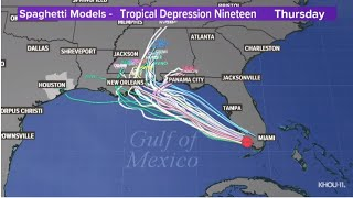 Tropical Depression 19 has strengthened into Tropical Storm Sally in Gulf of Mexico