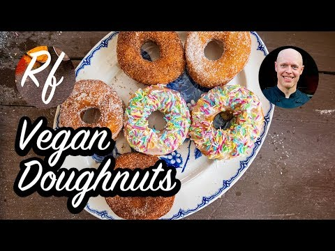 How to make Vegan doughnuts with dough made of creamy oats from Oatly or soy cream, yeast, flour, non dairy butter and some salt. >